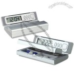 4 setting travel alarm clock with pill box in aluminum casing