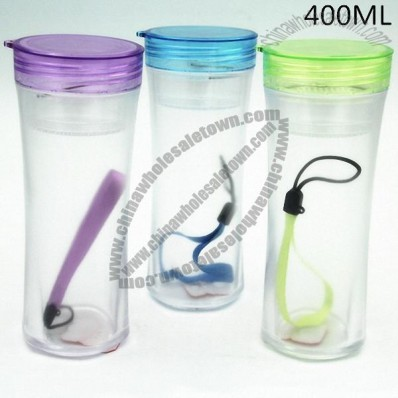 400ml Frosted Sport Drinking Cup with Strap