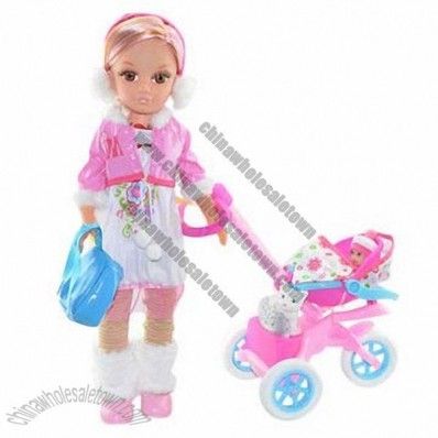 43cm Doll with Cart and Accessories