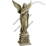 48-Inch Angel Holding Wreath Garden Statue