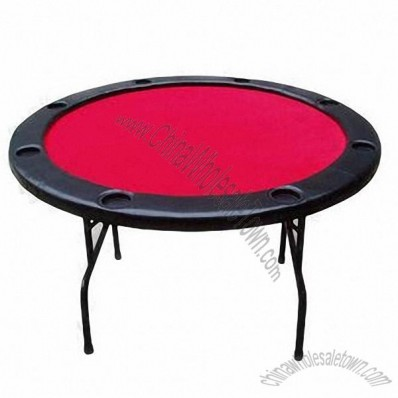 48-inch MDF Poker Table, Iron Table Legs, Plastic Cup Holders
