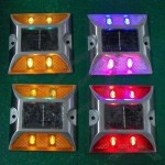 4LEDs Water-resistant Aluminum Solar Road Studs with 14mA Working Current and 5V Voltage Solar Panel