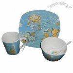 4pcs Bone China Dinnerware Set with Cartoon Decal for Children, Packed in Color Box