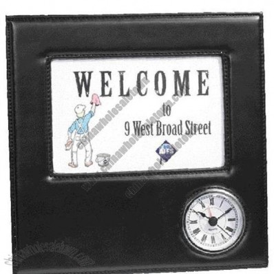 4x6 Black Faux Leather Picture Frame with Clock