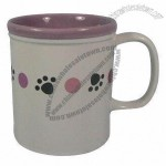 5 1/8-inch Ceramic Mug with Dog Paw and Pink Dot Design