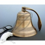 5 Inch Ridged Antiqued Brass Bell - 3 pounds