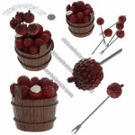 5 Pcs Funny Lovely Fruit Red Litchi Stainless Steel Fork Set