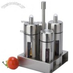 5-Piece Stainless Steel Pepper Sugar Salt Oil Vinegar Cruet Condiment Bottle Set With Stand