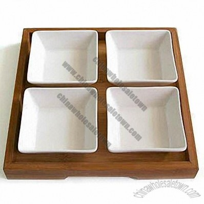 5 Pieces Tableware Set, Made of Ceramic and Bamboo
