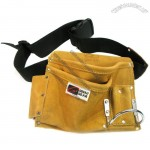 5-Pocket Nail/Tool Bag with Belt, Suede Leather