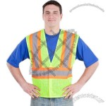 5 Point Breakaway Mesh Vest Contrast Stripes Class 2 Lime