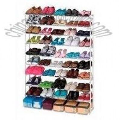 50 Pair Stacking Metal and Plastic Shoe Rack