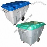 500L Removable Plastic Trash Bin with Two Large and Small Covers