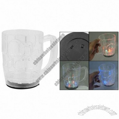 500ml Flashing LED Light Clear White Drink Cup Holder