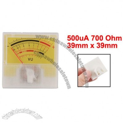 500uA 700 Ohm 39mm x 39mm Analog Audio Amp Electronic Valve VU Meter