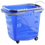 50L Plastic Shopping Basket with Telescopic Handle and Wheel