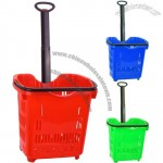 50L Rolling Shopping Basket with Telescopic Handle