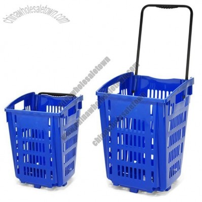 52L Blue Rolling Shopping Baskets