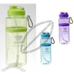 550ml Plastic Sports Water Bottle with Carabiner and Straw