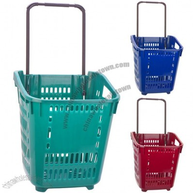 55L Rolling Shopping Basket with Wheel