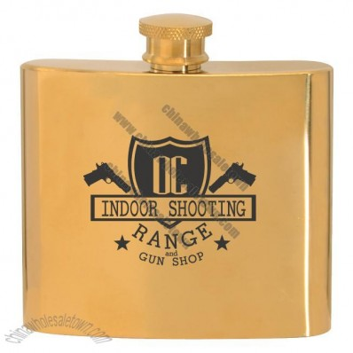 5Oz. Stainless Steel Gold Plated Hip Flask