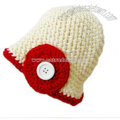 6-12 Month White and Red Baby Button Beanie