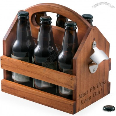 6-Pack Wood Beverage Bottle Caddy w/ Bottle Opener