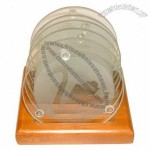 6 Pieces Glass Coaster with Wooden Holder