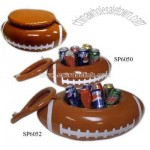 6 cans - Inflatable football shaped can cooler with white markings and lid