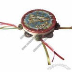 6-inch Festival Gift Tambourine with 4 Bells, Dancing/Map Poster and Colored Ribbon