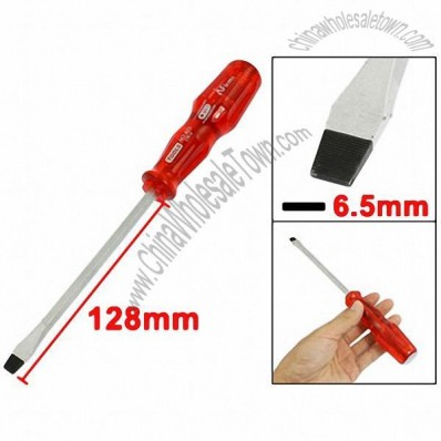6.5mm x 128mm Red Plastic Handle Magnetic Slotted Screwdriver 233mm Long