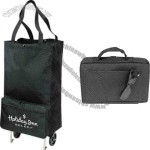 600 Denier Polyester Foldable Rolling Tote Bag With Heavy Vinyl Backing