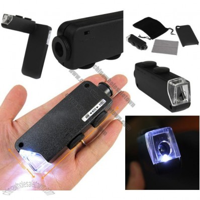 60X-100X Zoom Lens Microscope Magnifier with LED Light/Focus Dial/Hard Case for iPhone 4/4s