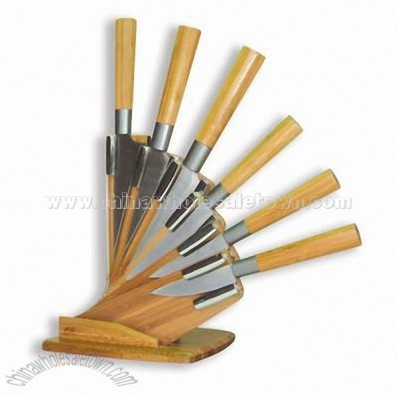 6PCS Lucky-Bamboo Knife Set with Block