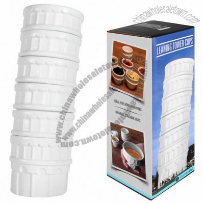 6pcs Leaning Tower Ceramic Cup Set