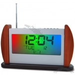7 Color Flashing FM Digital Radio with Wooden Base