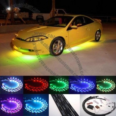 7 Color LED Under Car Glow Underbody System Neon Lights Kit w/Sound Active Function and Wireless Remote Control