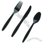 7 Inch Black Disposable Spoon Knife and Fork Set