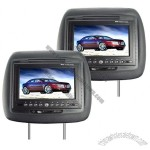 7 Inch TFT LCD Headrest Car DVD Player + Medial Player (Black, Pair)