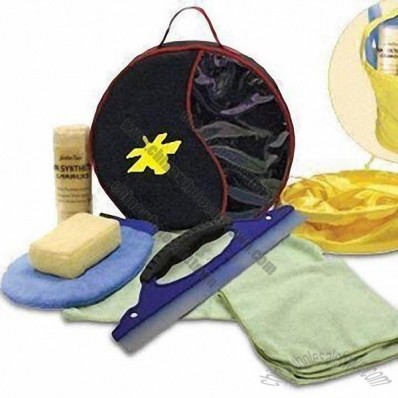 7 Pieces Car Cleaning Kit, Includes 2 Towels, Sponge, Squeegee and Fold Away Bucket