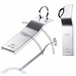 8GB Aluminum Alloy Ultra-Thin Anti-Drop Metal USB Flash Drive with Keyring