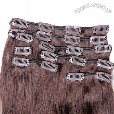 8pcs 18-inch #2 color clip-in hair Brazilian Remy hair