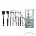 9-Piece Acrylic Makeup Brush With Shiny Pouch