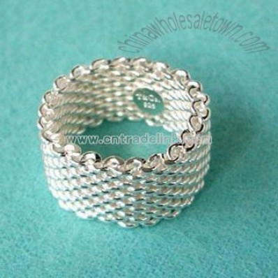 925 Silver Mesh Ring Jewelry