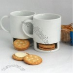 9oz Porcelain Mug With Biscuit Holder