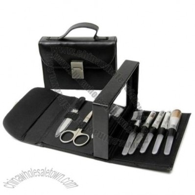 9pc Cosmetic Brush and Manicure Set in Leather Pouch