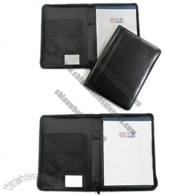 A4 Leather Portfolios with Card Slots, Pen Loop and Notepad with Zipper Closure