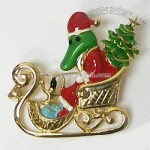ALLIGATOR IN SLEIGH CHRISTMAS PIN