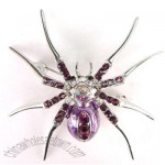 AMETHYST CZ RHINESTONE PURPLE BELLY SPIDER PIN BROOCH