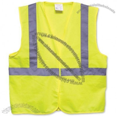 ANSI Class 2 Economy Solid Safety Vest with Velcro Closure - Lime